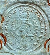 Pieczęć Zakonu Marianów z XVIII wieku.